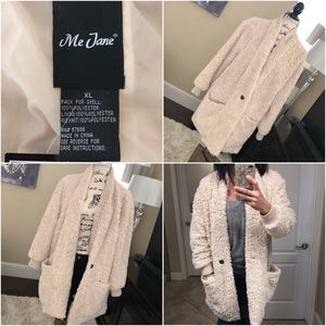 Me Jane Faux Fur Coat Cream XL (NWT)